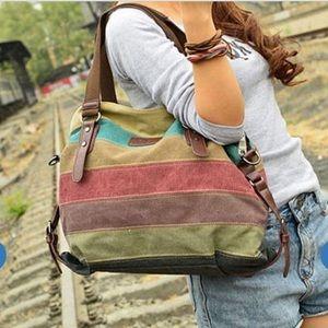 Handbags - Canvas multi color hand bag purse new